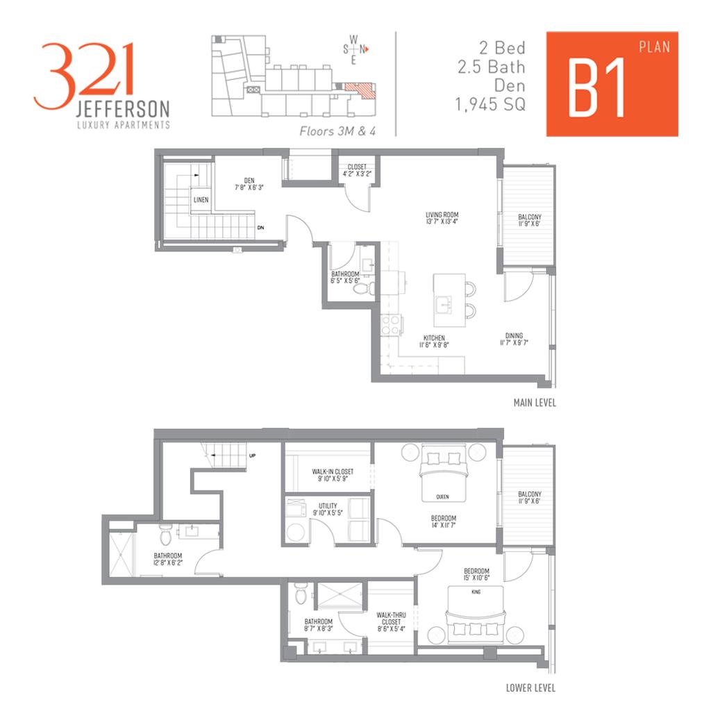 321 Jefferson B1 Floor Plan