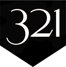 321 Logo in black with white letters