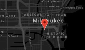 Milwaukee map with red marker