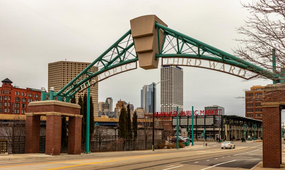 Historic Third Ward archway by public market