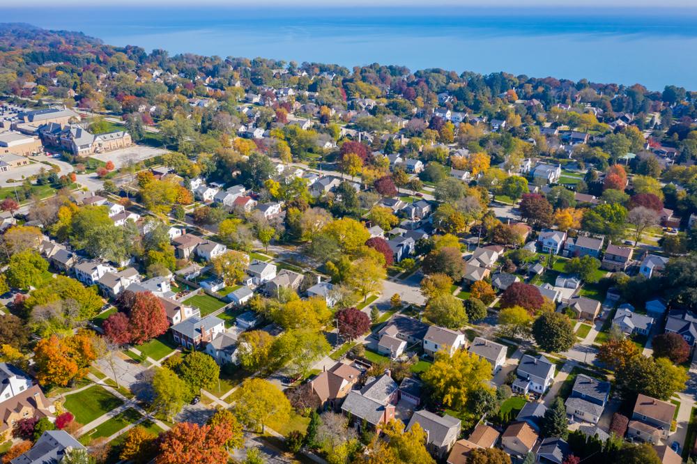 Whitefish Bay Wisconsin neighborhood drone view