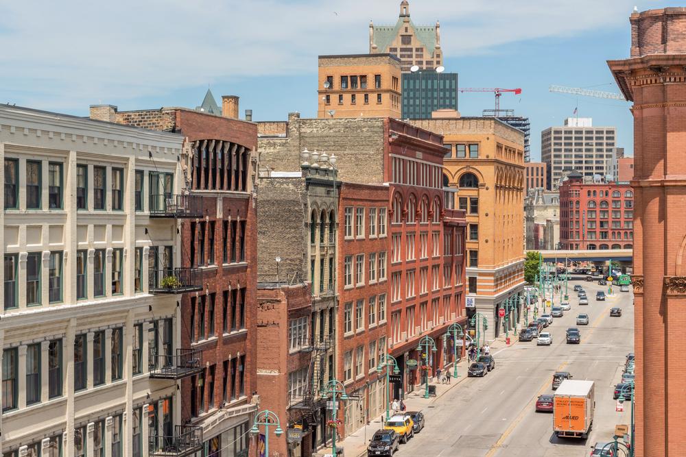 Milwaukee high wide angle of buildings